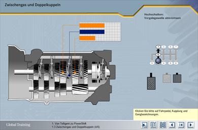 Simulation: Schalten mit Zwischengas und Doppelkuppeln