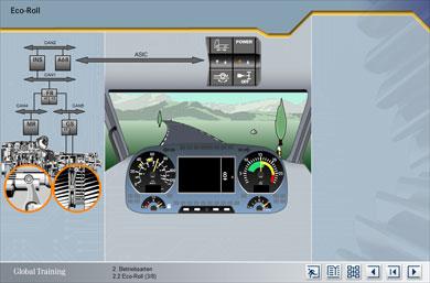 """Simulierte Fahrt durch eine 3D-Landschaft im Modus """"Eco-Roll"""""""