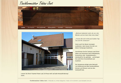 Startseite mit den ersten Eindrücken zur Tischlerei